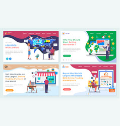 International trade concept landing page template vector