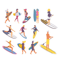 Isometric set people on surfboard boys and girls vector