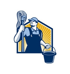 Janitor Cleaner Holding Mop Bucket Retro vector image