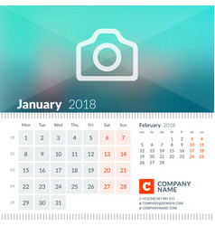 January 2018 calendar for 2018 year week starts vector