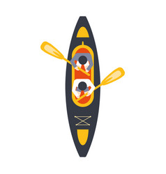 Kayak for two person with peddles from above part vector