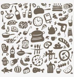 kitchen tools food - doodles set vector image vector image