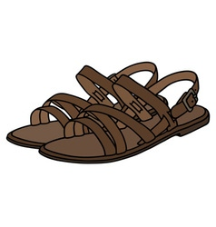 Leather womans low sandals vector