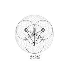 Magic alchemy symbols sacred geometry logo sign vector