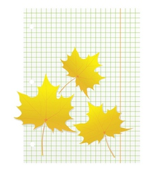 Maple leaves on a writing book in a cage vector