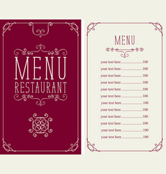menu for restaurant with curlicues and price list vector image
