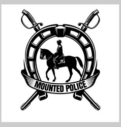 Mounted police - police badge and shield vector