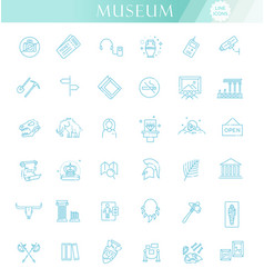 Museum icons set museum exhibits collection thin vector
