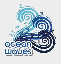 Ocean waves with nice shapes design vector