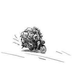 Overloaded motorbike hand drawn sketch isolated vector