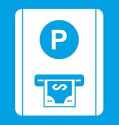 Parking fee icon white vector