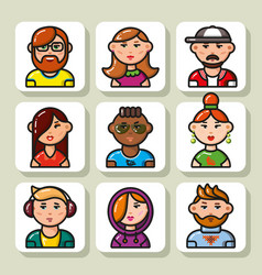 people face icons 21 vector image