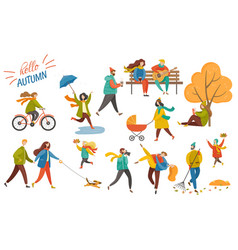 people walking in park hello autumn card vector image