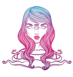 Portrait of mystic girl with three eyes vector image