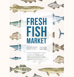 poster template with fish frame and place vector image