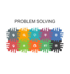 Problem solving cartoon template with flat vector