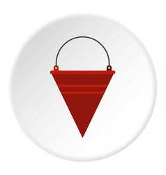 Red fire bucket icon circle vector