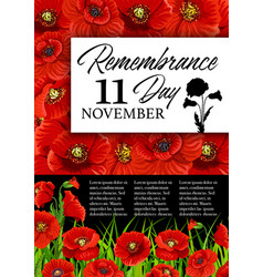 Remembrance day poppy flower memorial card vector