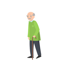 sad old man goes with wood walking stick in park vector image