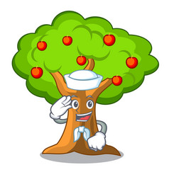 Sailor apple orchard with basket of cartoon vector