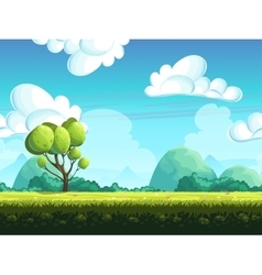 Seamless background trees and stones from the vector image