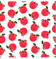Seamless pattern with red apple fruit vector
