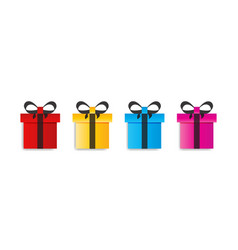 Set colored surprise gift boxes flat gift box vector