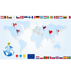 set flags of eu countries on world map vector image