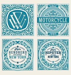 Set of 4 vintage labels vector