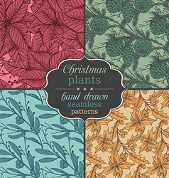 Set of four seamless patterns with hand drawn vector