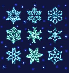 Set of neon snowflakes vector