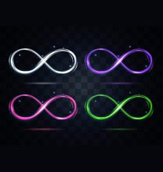 Shiny color infinity symbol set on a dark vector