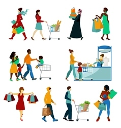 Shopping People Icons Set vector image