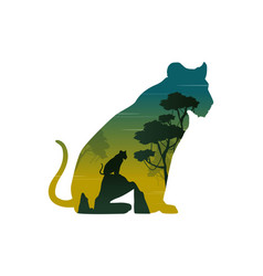 Silhouette lioness on hill landscape vector