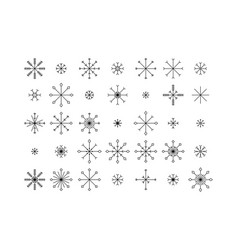 Snowflake icons set isolated on white background vector