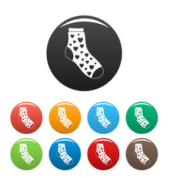 sock with heart icons set color vector image
