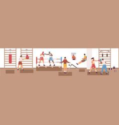 sports man and woman exercising at box club vector image