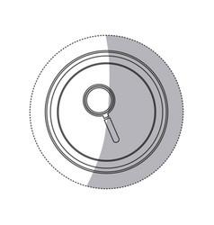 Sticker monochrome silhouette circular button with vector
