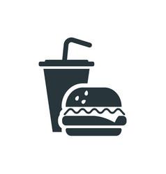 tasty fast food simple drink and burger black vector image