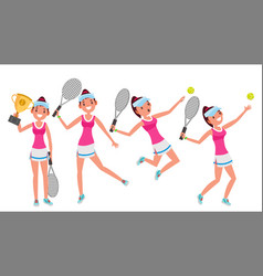 tennis player young and healthy players vector image