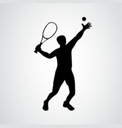 Tennis serve player black vector