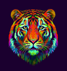 tiger abstract multi-colored vector image