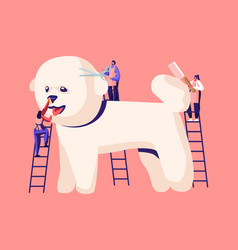 Tiny characters on ladders care cute poodle vector