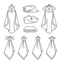 Towel outline line icons vector