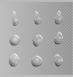 transparent set of drops isolated on vector image