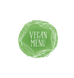 Vegetarian natural food sign vegan menu floral vector