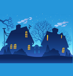 Village night silhouette vector