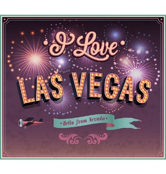 Vintage greeting card from Las Vegas vector