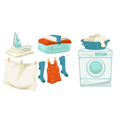 Washing machine and iron laundry and drying line vector