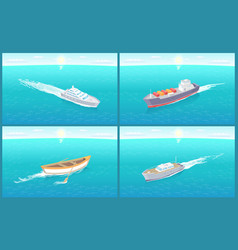 Water transport wooden rowing boat set vector